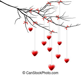 Valentine background, branch with hearts - Branch with...