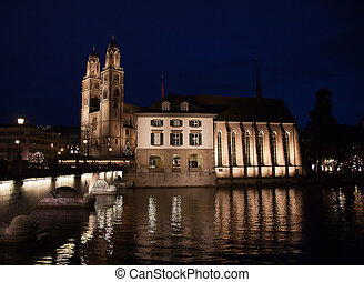 """""""Grossmunster"""" cathedral in Zurich - Famous double-headed..."""