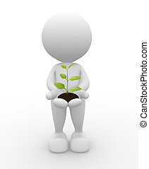 Businessman - 3d people - man, person with plant  in hands.