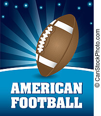 american football ball over night background. vector...