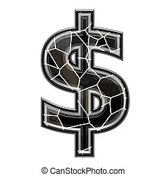 Abstract 3d currency sign with stone wall texture - dollar