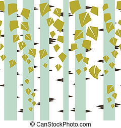 Seamless vector texture with green trees of birch