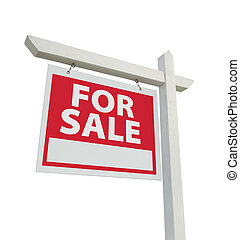 For Sale Real Estate Sign Isolated on a White Background....