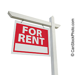 For Rent Real Estate Sign Isolated on a White Background...