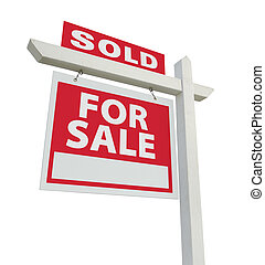 Sold For Sale Real Estate Sign Isolated on a White...