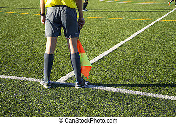 Assistant referee - A detail of an assistant referee.