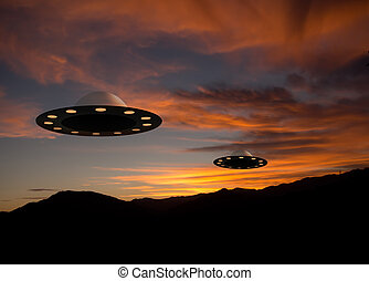 UFOs at sunset - extraterrestrial