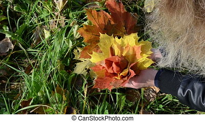 flower made autumn leaves