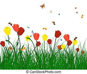 Color meadow - Meadow color background with butterflies. All...