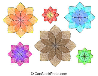 colorful flowers illustration - picture of colorful flowers...