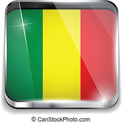 Mali Flag Smartphone Application Square Buttons