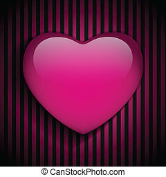 Glossy Emo Heart Pink and Black Stripes - Vector - Glossy...