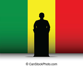 Mali Speech Tribune Silhouette with Flag Background