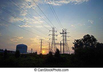 Electrical Tower Sunrise - A view of the electrical towers...