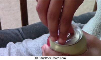 Open Soda Can - Hand opening can of soda