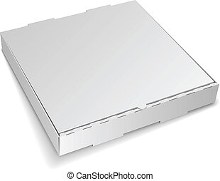 Blank closed cardboard pizza box isolated on white...