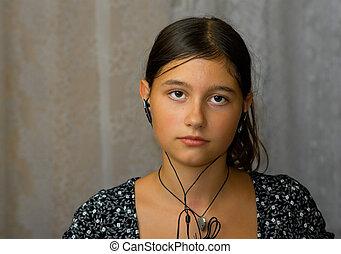 girl in ear-phones