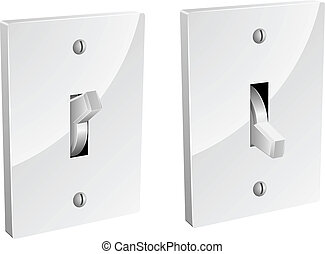 Electric switch in on and off mode isolated on white