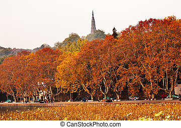 Ancient Baochu Pagoda Autumn West Lake Hangzhou Zhejiang...