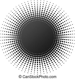 Radial halftone element isolated on white background.