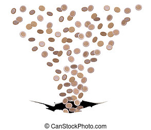 coins falling in black hole