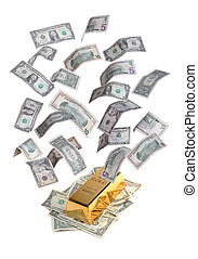 gold bar with bank notes - gold bar with flying dollar bank...