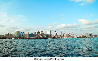 View of Baku from sea - View of a new quarter of Baku from...