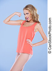 Spoof image of a woman flexing her muscles - Spoof image of...