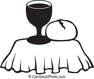 Chalice and bread - Silhouette image of the chalice of wine...
