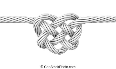 White heart shaped knot, isolated on white background
