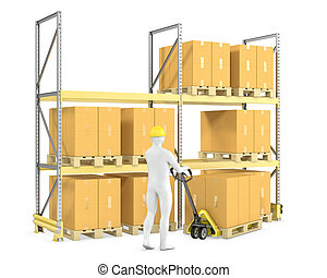 Worker moves boxes with pallet truck, isolated on white...