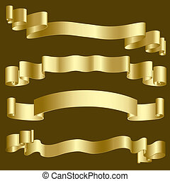 Gold ribbons and banners - Metallic gold ribbons and banners...