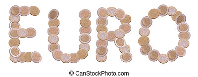 euro - written with coins