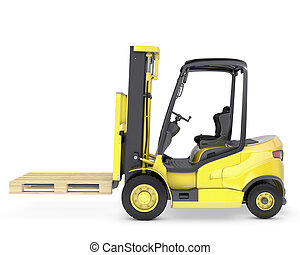 Yellow fork lift truck with pallet, isolated on white...