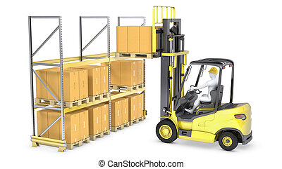 Forklift truck loads pallet on the rack, isolated on white...