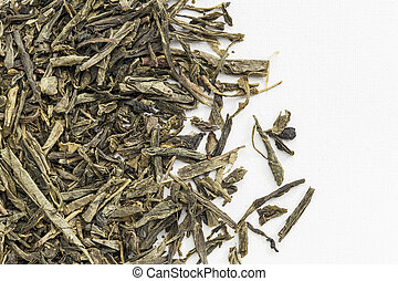 Sencha green tea - background texture of loose leaf Sencha...
