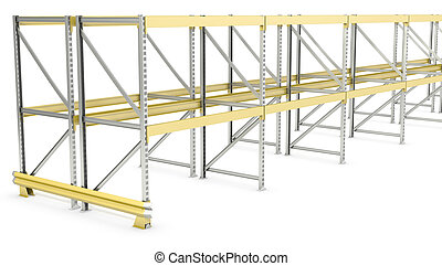 Row of double sided pallet racks, isolated on white...