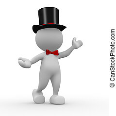 Gentleman - 3d people - man, person with hat and a bow-tie....