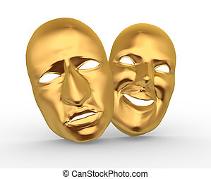 Masks - 3d golden happy and sad entertainment masks. 3d...
