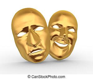 Masks - 3d golden happy and sad entertainment masks. 3d...