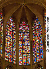 stained-glass window in saint gatien - the polychrome...