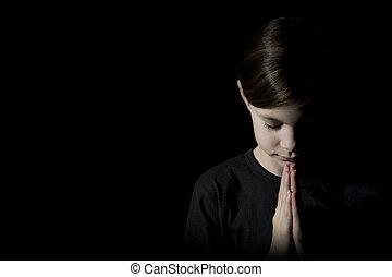 bonito, menina, orando