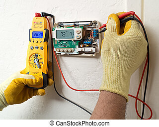 Hispanic air conditioning technician