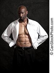 norteamericano, hombre, negro, guapo, africano