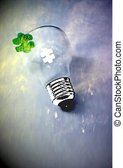 green business successful ideas - green jigsaw puzzle piece...
