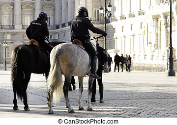 Mounted police - Police on horse back patrolling the Royal...