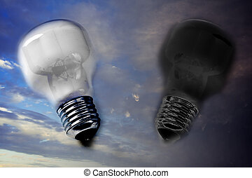 pro and cons, good and bad ideas - light and dark lightbulb,...