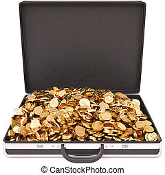 case full of golden coins. isolated on white.