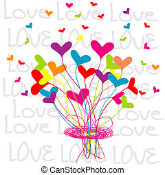 Background with a bouquet of hearts