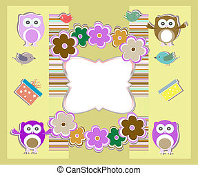 happy birthday card with cute owls, birds, flowers and gift box